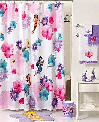 Disney Bath Accessories, Fairies Rosey Shower Curtain   Shower Curtains U0026  Accessories   Bed U0026
