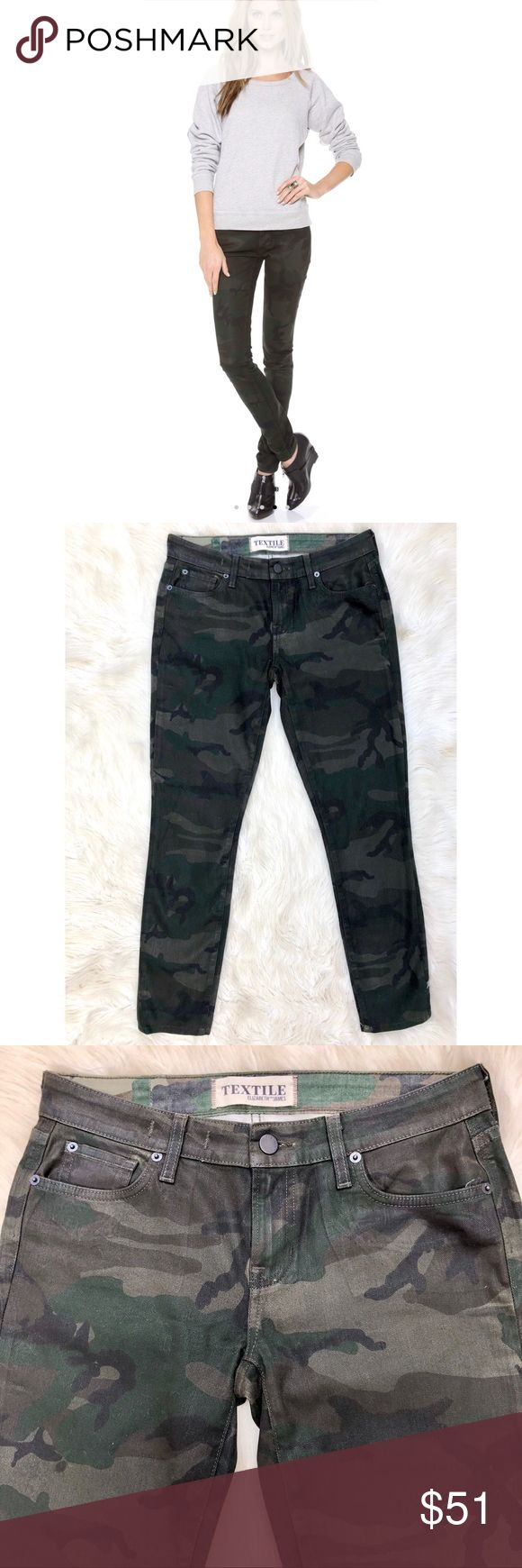 """Elizabeth and James Textile Debbie Camo Jeans TEXTILE Elizabeth and James Coated Debbie Skinny Jeans  Camouflage print lends a roguish feel to these faded, TEXTILE Elizabeth and James skinny jeans. 5-pocket styling. Single-button closure and zip fly.  Fabric: Coated stretch denim. 98% cotton/2% elastane. Dry clean.  These are in excellent condition with no flaws. They're coated but not really shiny, so it's easier to wear for everyday outfits.   Size 27 28"""" inseam  8"""" rise 15"""" waist 11"""" leg…"""