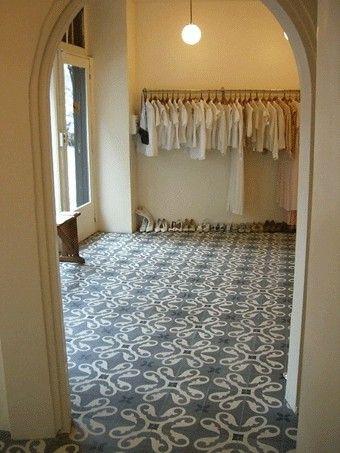 LOVE encaustic tile. Possible uses: behind cooktop only, landing at back door.