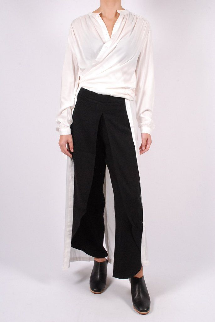 Rodebjer Dress Art + Rodebjer Nala Trousers + Rachel Comey Mars Mules