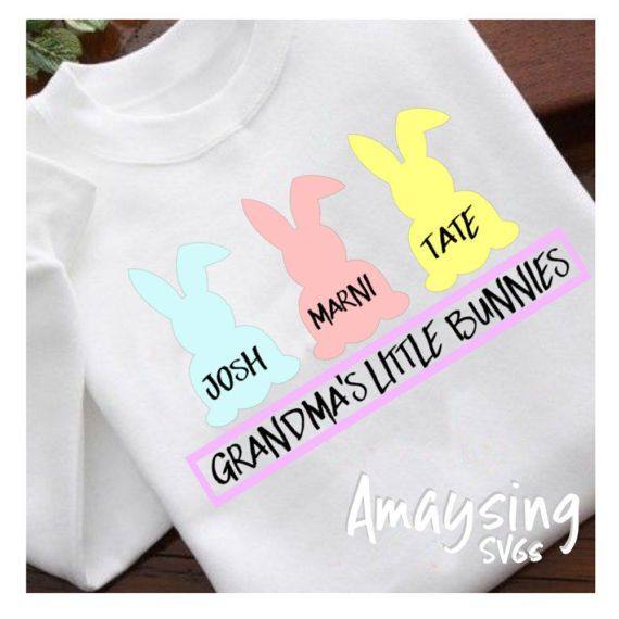 SVG - Grandmas Little Bunnies - Digital Vector Download Adorable Easter Tshirt SVG for Grandma or any of the other Women in your Familys life. Many Name choices are included in this file. Grandma will love this as an Easter Gift. Simply add your children;s names and youre on the way!   More Easter SVGs: http://etsy.me/2kWJdAR  This Design does not contain editable Text. All text sections are unioned as one piece for compatibility across software platforms.  This Listing include...