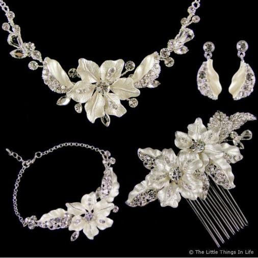 Adrienne Complete Wedding Jewellery Set (Silver) - £75