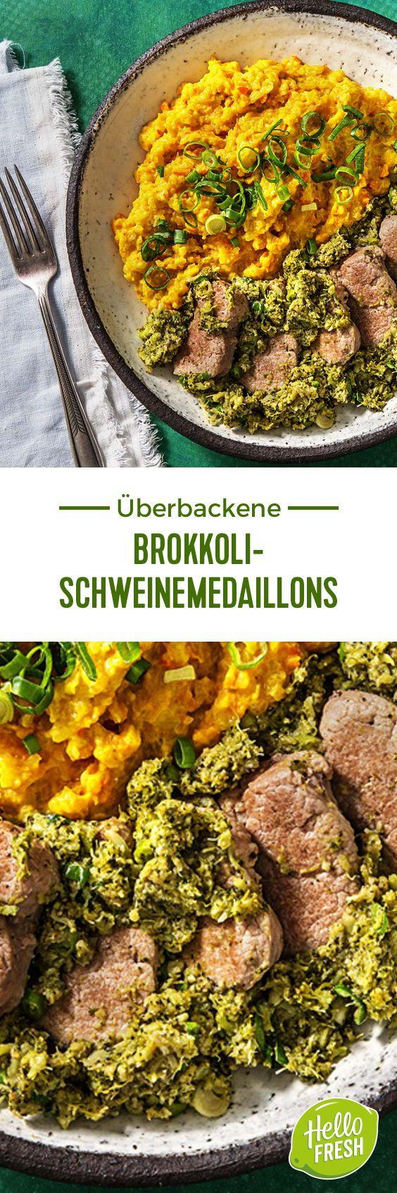 Überbackene Brokkoli-Schweinemedaillons mit Kürbis-Kokos-Püree