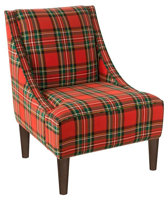 Quinn Swoop Arm Chair Stewart Red Patterned Armchair