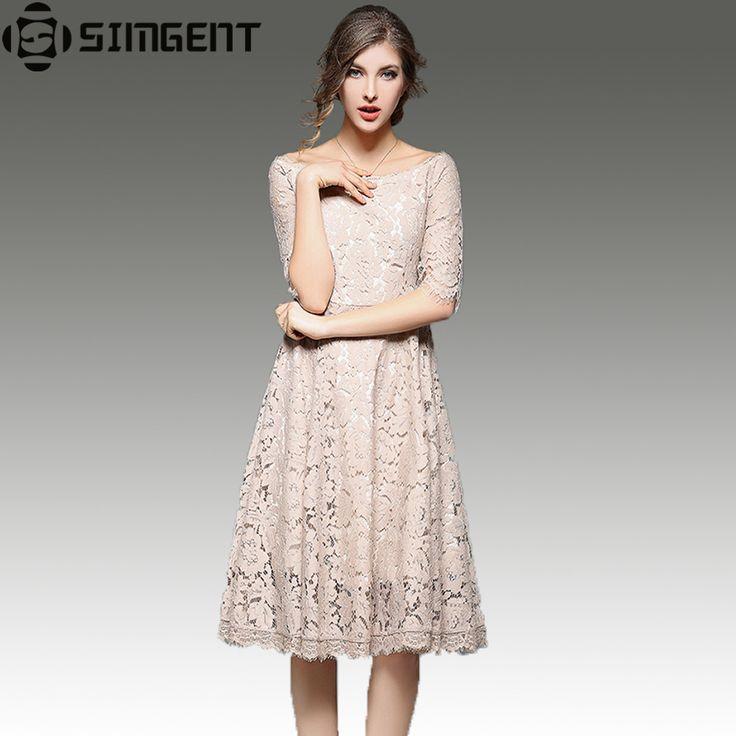 Simgent Short Casual Dresses Spring New Half Sleeve Slash Neck Hollow Out Women Lace Dress Tunique Femme Vestido Dames Kleding
