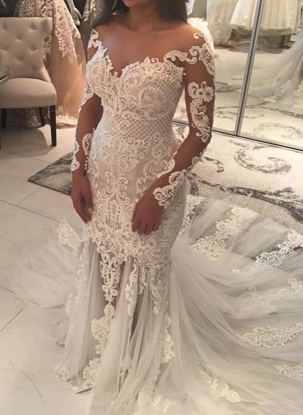 Elegant New Arrival Long Sleeve Mermaid Wedding Dresses Long Train Online Cheap Bridal Gowns Long Sleeve Mermaid Wedding Dress Long Train Wedding Dress Long Sleeve Wedding Dress Lace