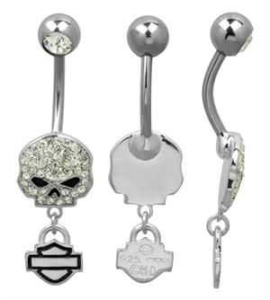 harley davidson mod bling willie g skull belly jewel