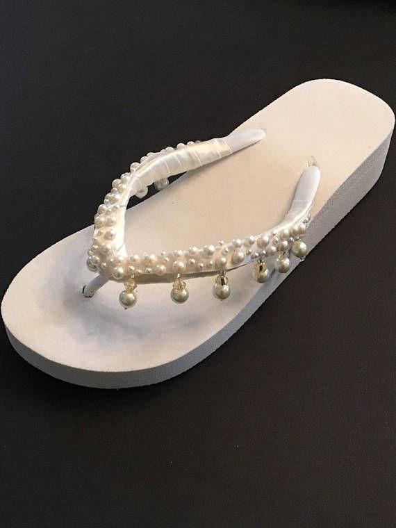 259820a78e1 Bridal Wedges Flip Flops Bride Shoes Sandals Wedding Flip Flops Shoes White wedding  Shoes Bridesmaids Shoes  weddingshoes