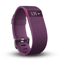 Fitbit Charge HR Wireless Activity Wristband, Plum, Large