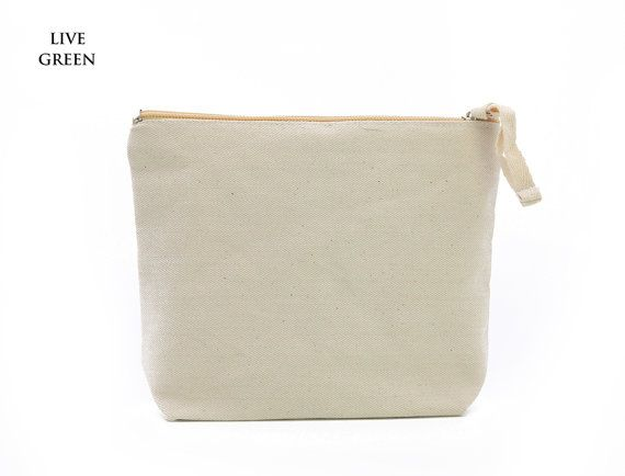 Free ShippingPlain Nature Cotton Canvas Cosmetic Bag by LiveGreens