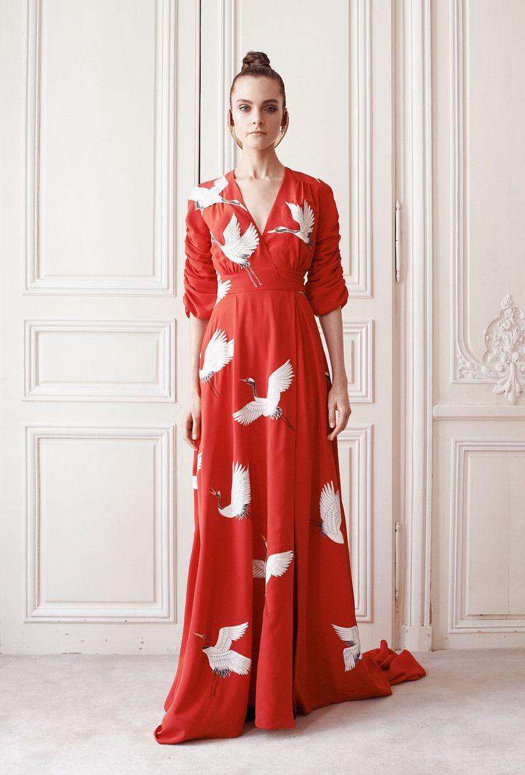 Créatrice de Robe du soir longue Oiseaux - Automne-hiver 14 15 - Couture Campagne - Delphine Manivet