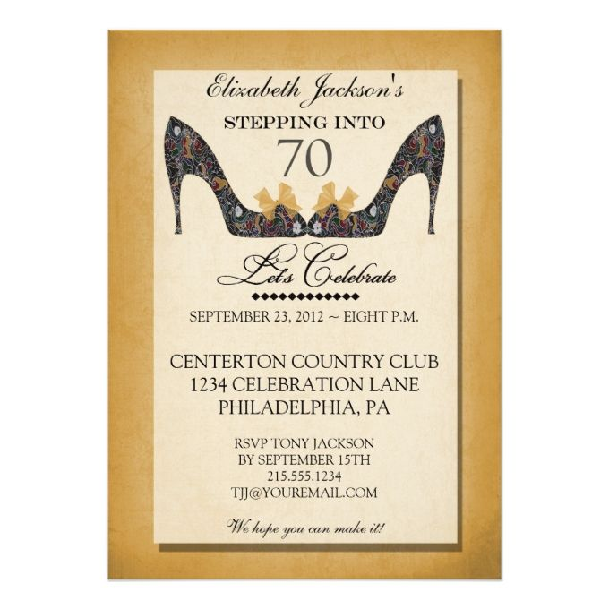 1329 best 70th birthday invitations images on pinterest invitation gold vintage floral shoe 70th birthday invitation stopboris Images