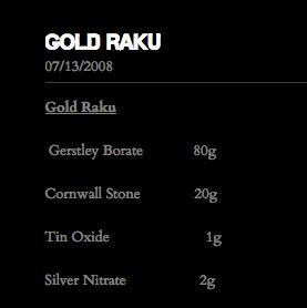 Gold Raku glaze from http://www.ryanpetersraku.com/free-glaze-recipes.html