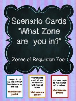 40 scenario cards that ask student(s) to choose what zone (from Zones of Regulation curriculum) they would be in if they were in that situation.Comes with 4 blank templates to make your own based on student need. Great for whole class, small group, intro activity, counseling session or 1:1!