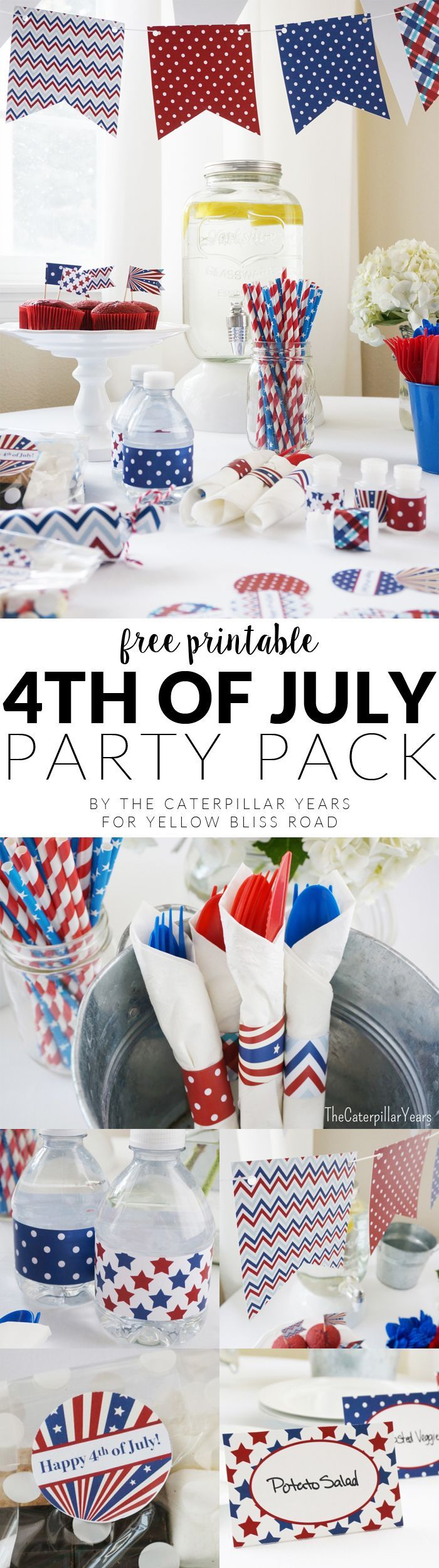 Patriotic Party Printables with cupcake toppers, printable banners and flags, water bottle labels and so much more!