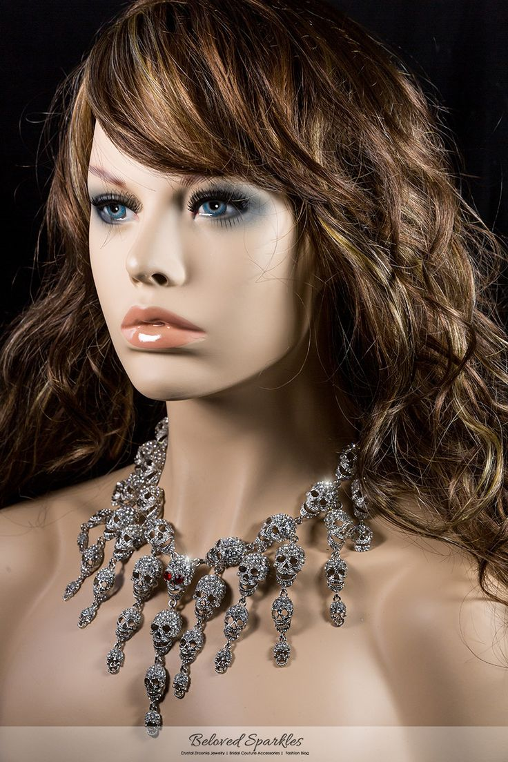 Skulls Cluster Clear Diamond Silver Goth Fashion Necklace | Crystal