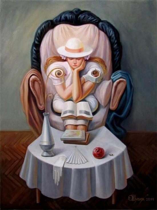 Oleg Shuplyak è un pittore ucraino di talento che trasforma le sue opere in illusioni ottiche strabilianti.Guardare i suoi dipinti richiede tempo e attenzione: oggetti e personaggi sono perfettamente allineati in modo tale da creare l`illusione di un quadro nascosto dentro l`altro [via indulgd.com]