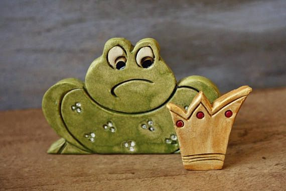 Handmade ceramic object pottery art Prince frog Ceramic
