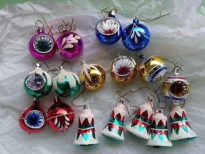 Vintage Small Christmas Ornaments Indent Bells Balls