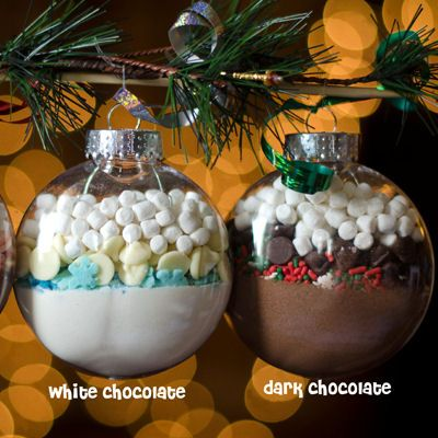 DIY Hot Cocoa Mix Ornaments (Good 12 days of Christmas idea. Fill 12 ornaments with 12 different flavors and drink one each day.)