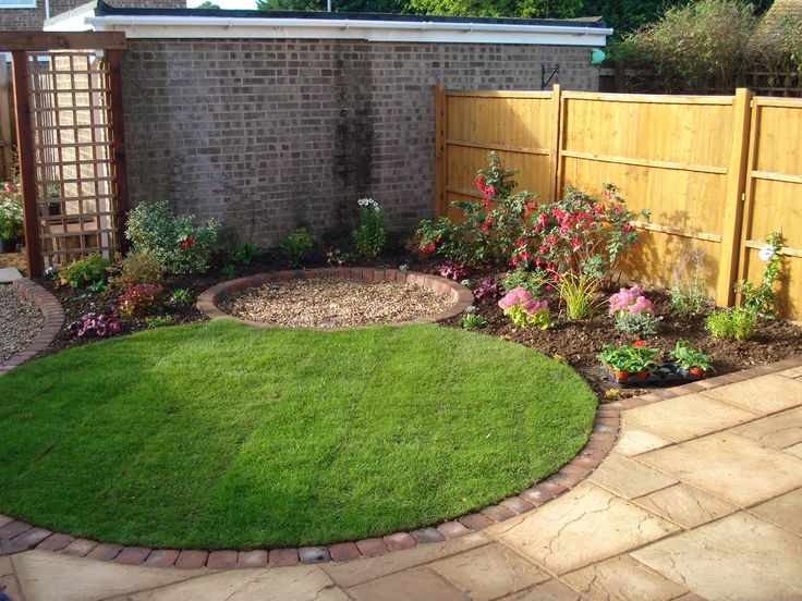 Small circular lawn with tiny round patio beyond for a coherent effect in an urban garden.