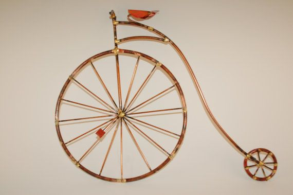 PENNY FARTHING BIKES, old fashion giant bicycle,high wheel,copper,bicycle ,bike sculpture, metal wall art,  - http://www.wocycling.com