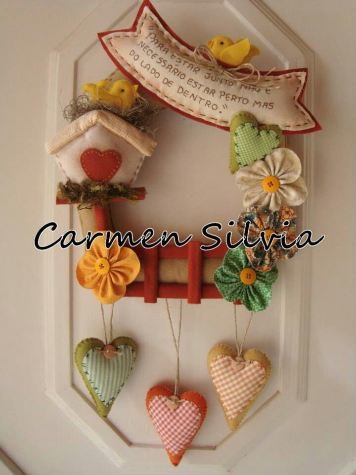 Patchwork - Applique - Wreath - hearts -birdhouses - mixed media
