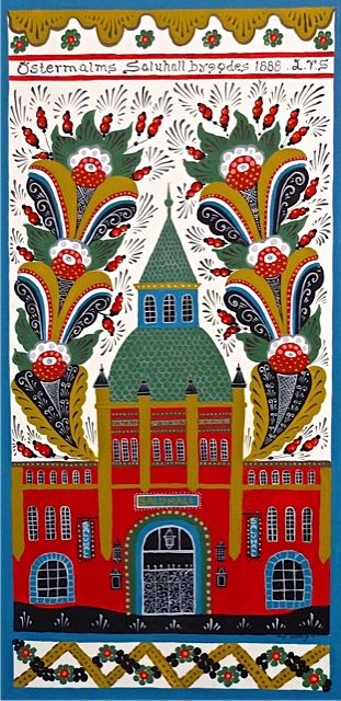 The Ostermalm Food Hall in Stockholm, Sweden -- here depicted in Swedish Folk art Dala Style