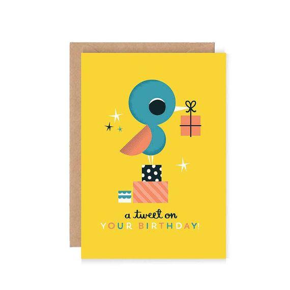A Tweet on Your Birthday Card  Cute Birthday by stephsayshello, £2.75