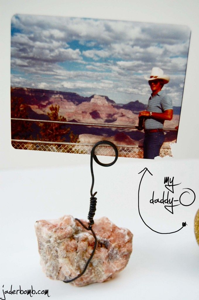 DIY rock picture holders- have the picture be from where you found the rock!