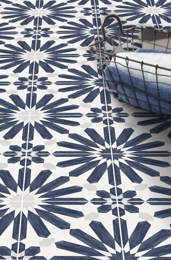 Stellino Vinyl Tile Sticker Pack In Ink Blue Tile Decals Etsy In 2020 Tile Decals Vinyl Tile Blue Tiles