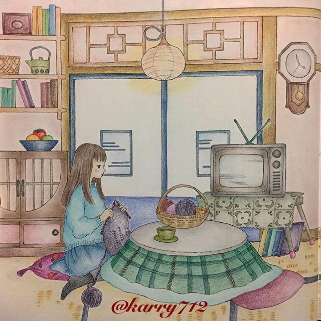 「憧れのお部屋シリーズ」見開き左側 * #おとなの塗り絵 #憧れのお部屋 #ヴァンゴッホ色鉛筆 #ファーバーカステルポリクロモス #adultcoloring #fabercastell #vangoghpencils