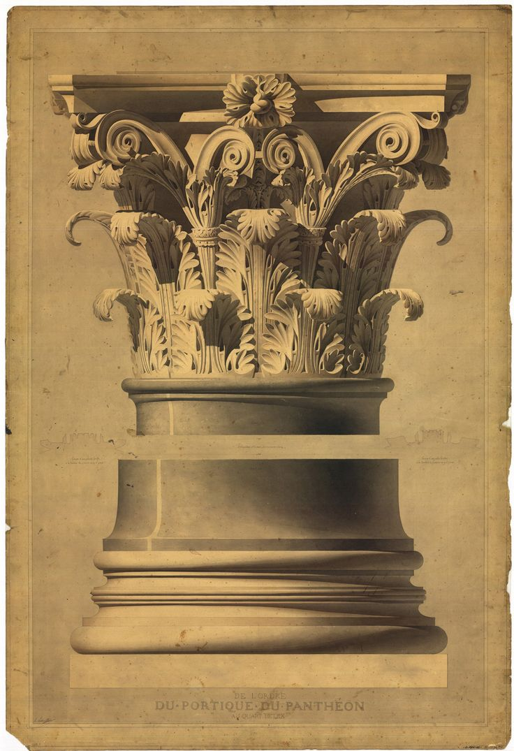 Architect Henri Labrouste  (1801-1875) I Study of the Corinthian order taken from the Pantheon portico