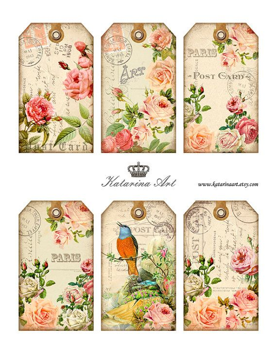 Shabby ROSES Tags. Digital Collage Sheet. Printable Gift Tags, Hang ...