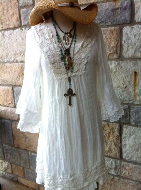Tee for the Soul - Off White Bohemian Ruffle Dress/Tunic ...