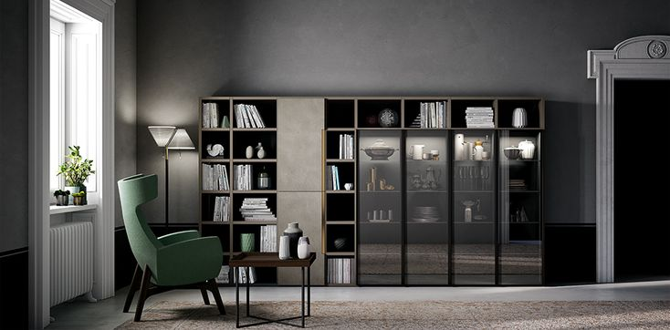 metal, glass, wood and laminam® at the service of refined, new living room decor