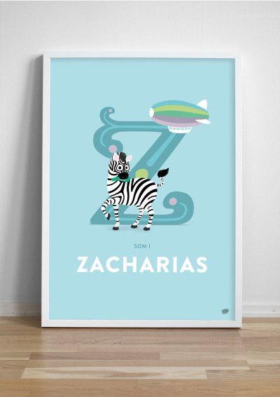 Namntavla Bokstaven Z - Zucchiniätande zebra!
