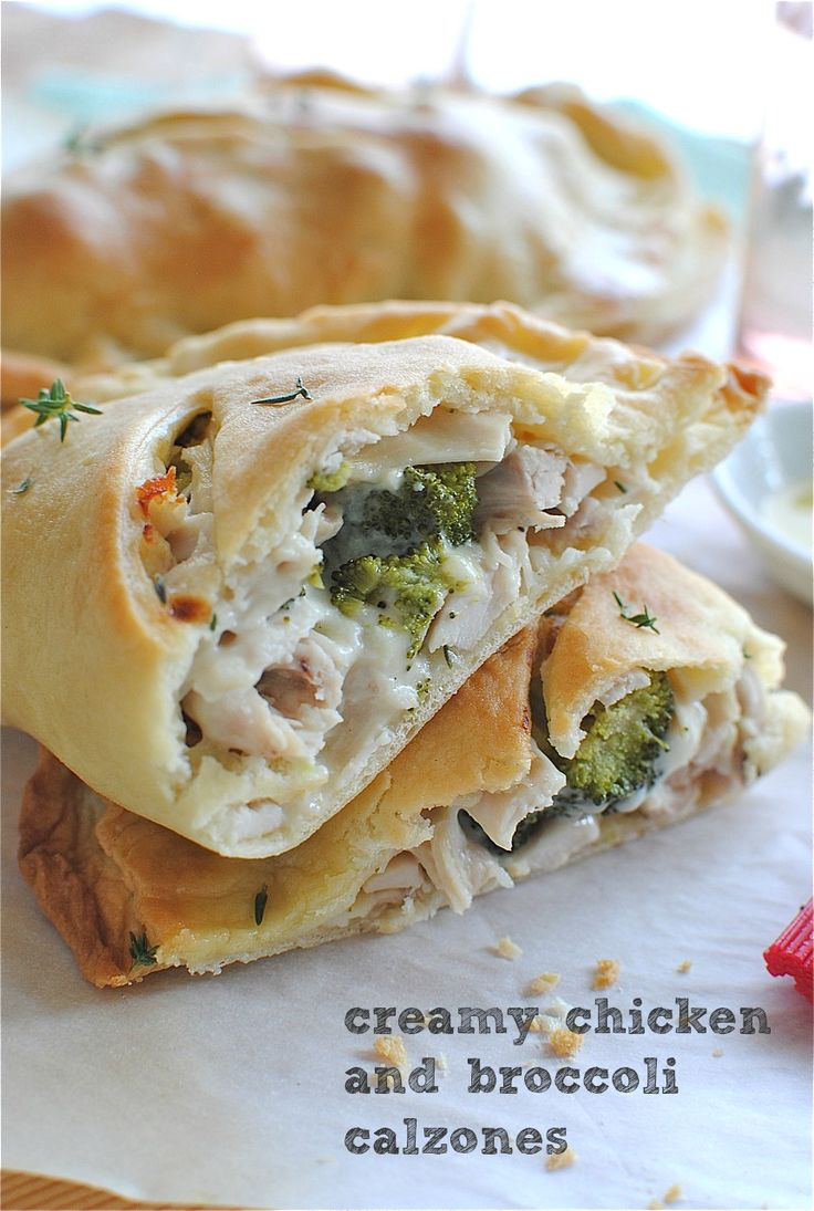 creamy chicken and broccoli calzones