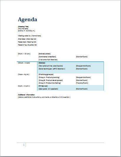 Agenda template at wordtemplatesbundle.com