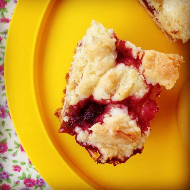 baby led weaning recipe: raspberry  macadamia crumb bars