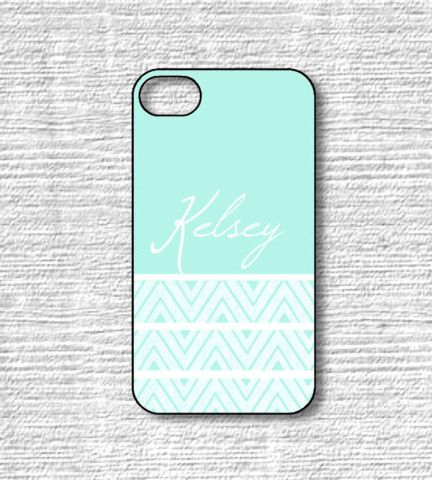 Monogram iPhone Cases Mint Chevron - Custom Name Samsung Galaxy Cases