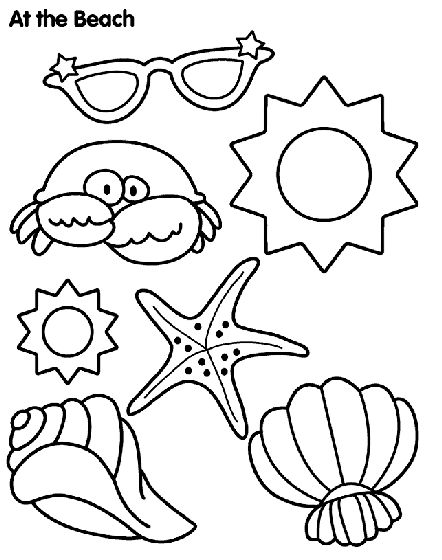 remember your vacation at the beach with this fun sun and sand coloring page