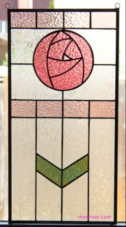 Circle rose stained glass panel