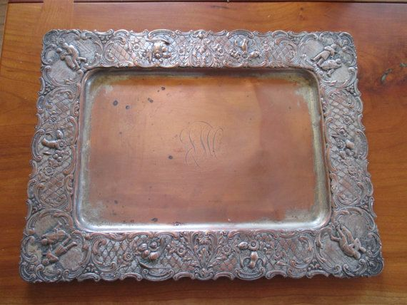 SALE Vintage Victorian Metal Tray Highly by phylsugarbear on Etsy (Home & Living, Home Décor, Decorative Trays, Victorian Tray, Metsl Tray, Antique Tray, Vinatge Tray, Heavy metal tray, Copper tray, serving tray, tray with figures, serving platter, vintage platters, tray with birds, victorian platter, monogram tray)