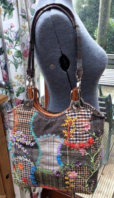 Updates to Upcycled Silk Ribbon Embroidered Wool Bag - Foolproof Crazy Patchwork…