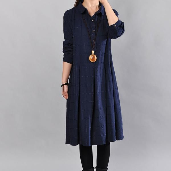 Cotton Loose Women Navy Blue Dress