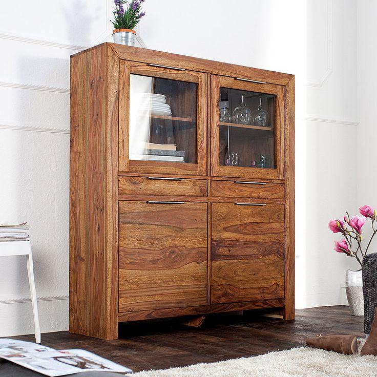 Massives Design Highboard LAGOS Sheesham Holz stone finish 120cm Sideboard in Möbel & Wohnen, Möbel, Schränke & Wandschränke | eBay