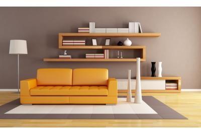 Rectilinear orange interior - living area