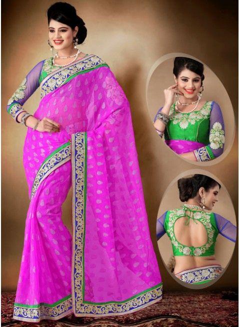 Alluring Deep Deep pink embroidered #saree #designersares #clothing #fashion #womenwear #womenapparel #ethnicwear