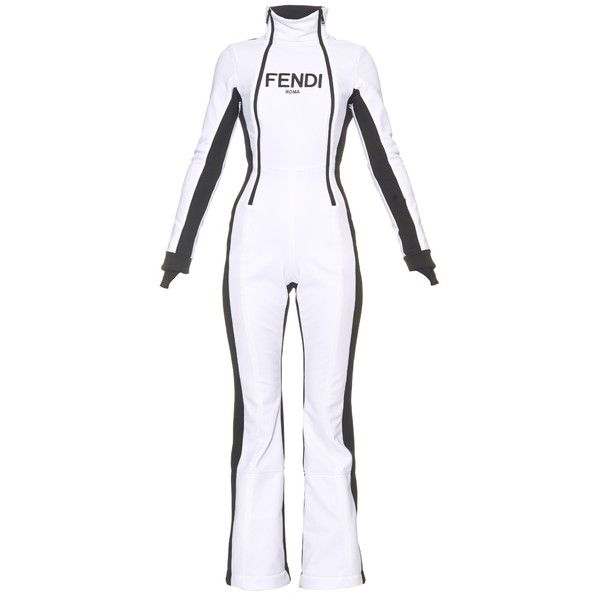 Fendi Technical ski jumpsuit ($2,492) ❤ liked on Polyvore featuring jumpsuits, white black, black and white jumpsuits and rompers, jump suit, ski jumpsuit, fendi and jumpsuits & rompers